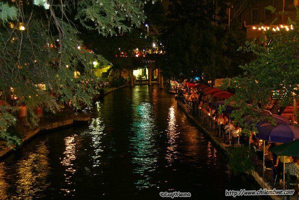 The river walk at night