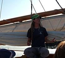 While the crew moved the Schooner Adventuress from the dock we got a history lecture about the 100 year old lady. By moving us all over to the side away from the dock and requiring us to sit on the deck, the sight lines were cleared for the captain & crew and we were out of the way of the line handlers.