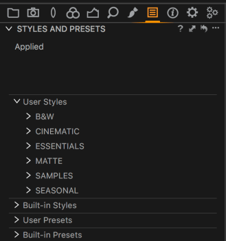 The new Styles and Presets tool in Capture One Pro