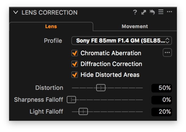 Improve the detail when shooting at small apertures with Diffraction Correction.
