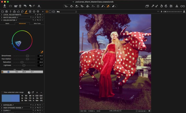12. Sample the color of the sky and make color adjustments in Color Editor