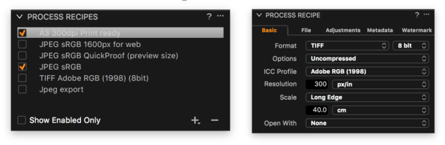 Process Recipes gives you the ability to save file export options for later use. The options are vast, and include output sharpening.