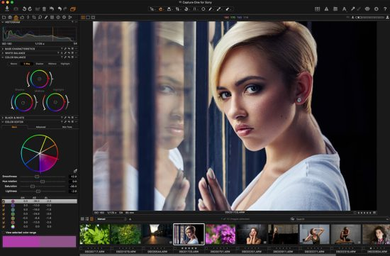 Portrait processing in Capture One Pro 9 for Sony. The photo was taken with a Sony A7R mkII and a SEL85F14GM lens
