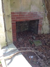 Fireplace in condemned cabin of the old camp