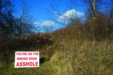 A landowner in Greene County warns industry trucks to stay off his property.
