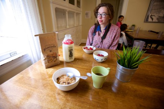 Carissa enjoying our breakfast goodies at our Marin Headlands Hostel