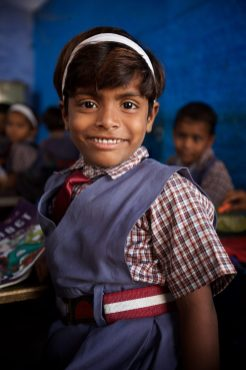 Sweet little school girl in Agra, India