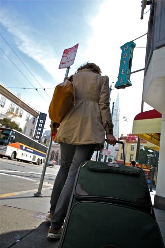 Christina and I exploring the streets of San Francisco with my Orvis rolling bag