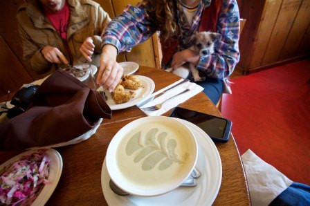 We love Duarte's in Pescadero. Our favorite is the cream of artichoke soup (mixed with Jalepeno Soup)