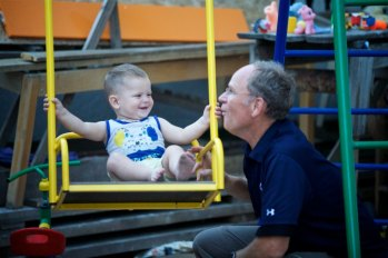 Playing with little Vitalik (Thanks Carissa Mosley for the photo!)