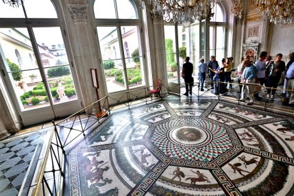The Pavilion Hall - This mosaic is set into the floor – a copy of one found during excavations of ancient Roman thermae.