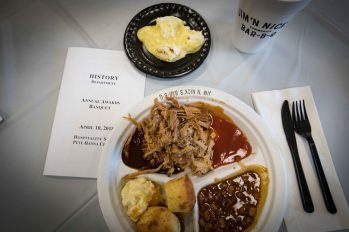 They do it right in the south... no baked chicken at the banquets here, pulled pork and all the trimmings from Jim N Nicks