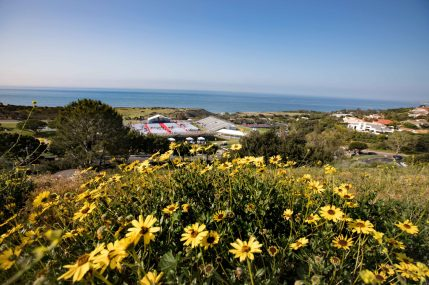 View from Pepperdine University campus of the graduation site, Alumni Field