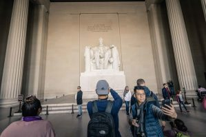 I always find the people taking selfies at the Lincoln Memorial to be a more memorable capture than the memorial itself