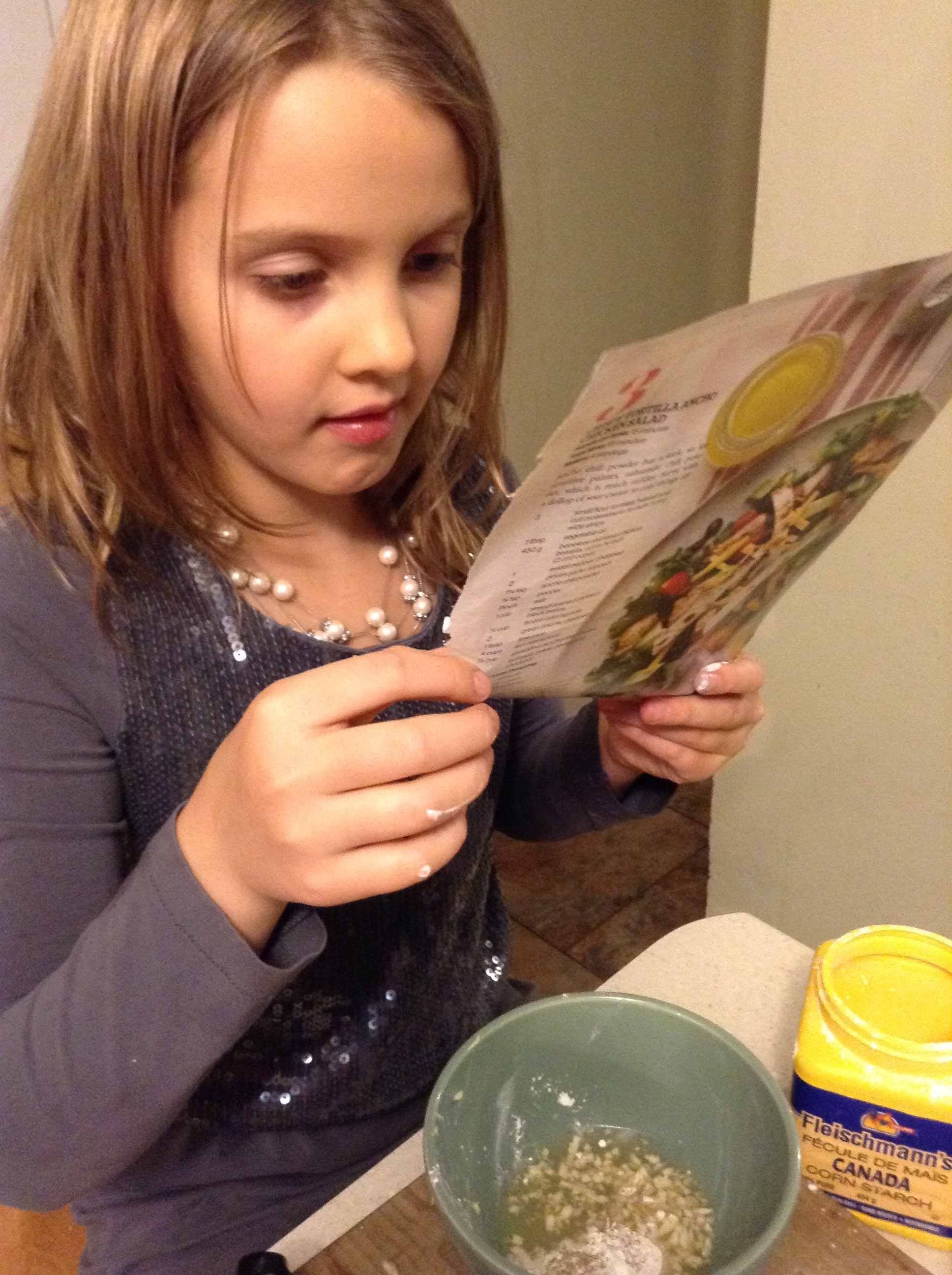 Madelyn reading recipe