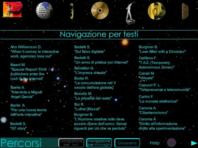 La navigazione per testi / The navigation by texts