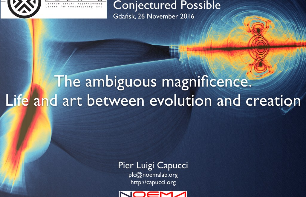 The ambiguous magnificence. Life and art between evolution and creation