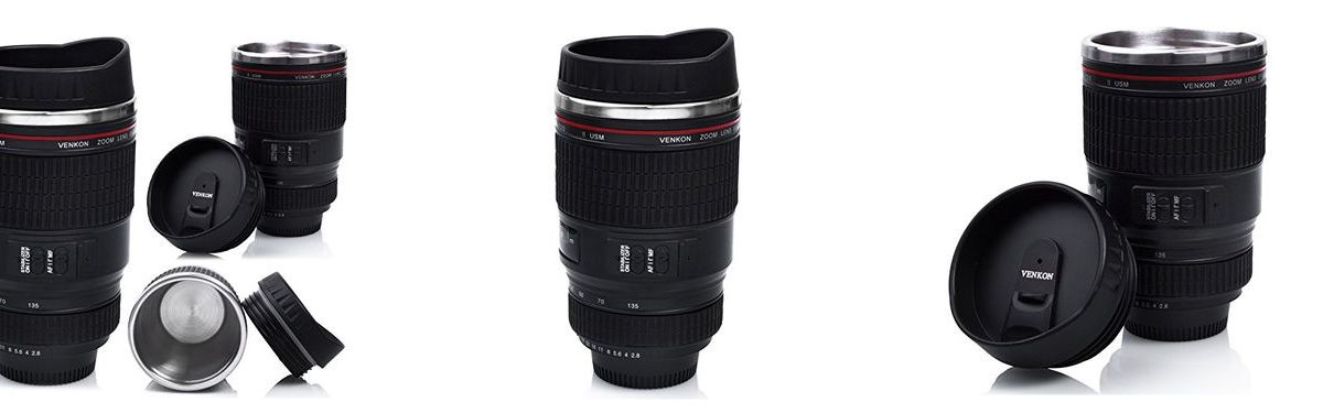 ¿Buscando un termo – taza con forma de objetivo de cámara fotográfica?