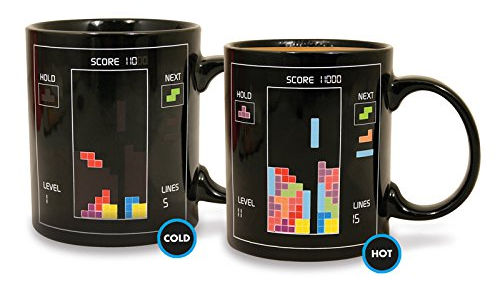 Un regalo bastante Geek y retro: Taza sensitiva al calor con diseño Tetris