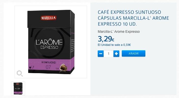 Cápsulas de Marcilla L' Arome Espresso para cafeteras Nespresso (oferta)