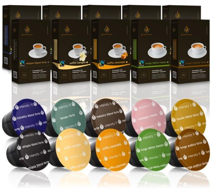 Gourmesso caja degustación – 100 cápsulas de café compatibles con cafetera Nespresso