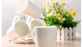 Kicode 4 Tazas de Café Porcelana, Tazas de Desayuno Blancas 300ml
