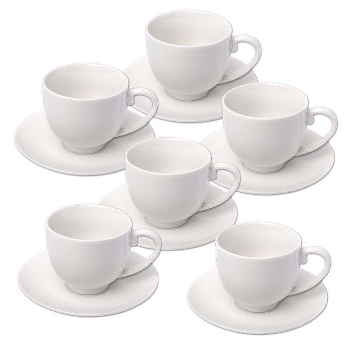 Alpina 871125285358 – Set de tazas de espresso con platos, cerámica blanca (12 unidades)