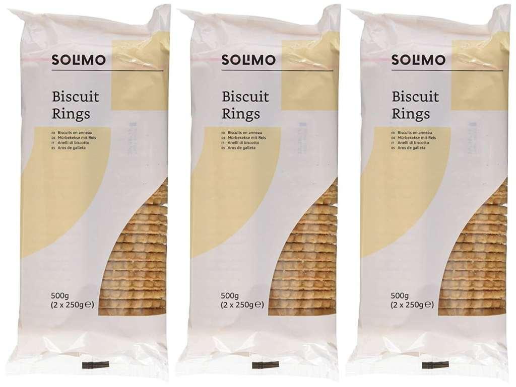 Solimo Aros de galleta - 500g x 3