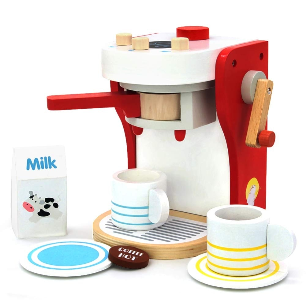 Cafetera de juguete de madera de yoptote
