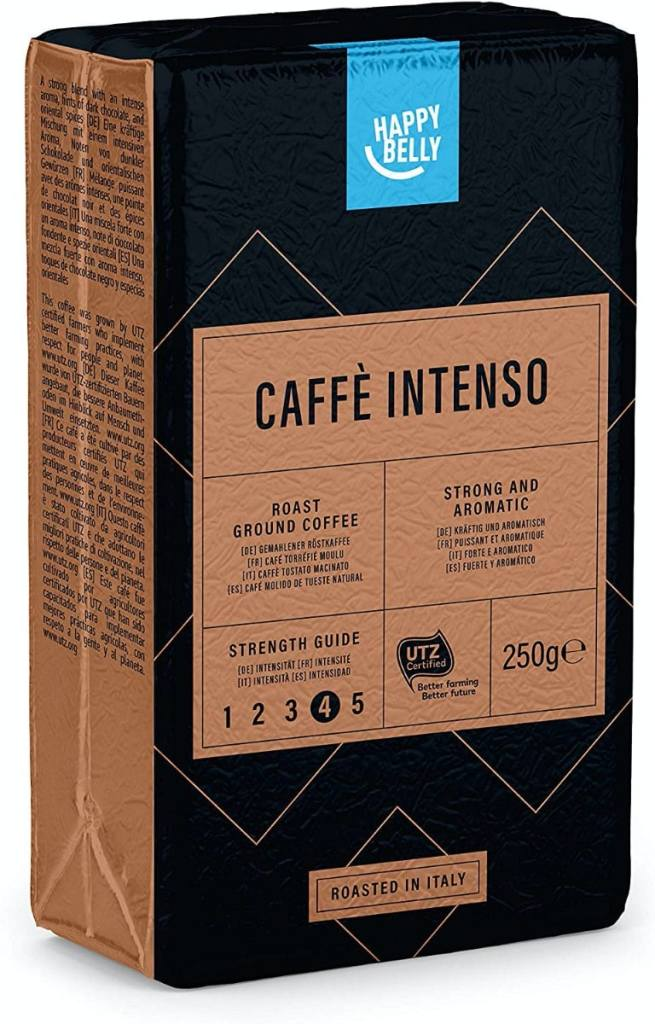 """Happy Belly Café molido """"Caffè Intenso"""" (4 x 250g)"""
