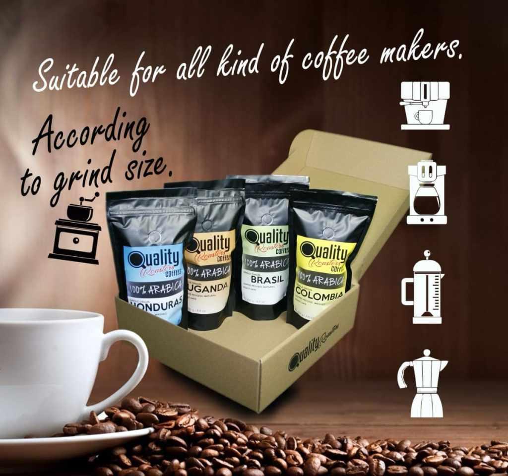 4 cafés en grano natural. 100% Arabica