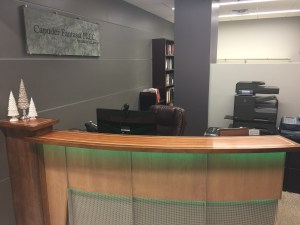 Front desk of reception area, Capuder Fantasia PLLC