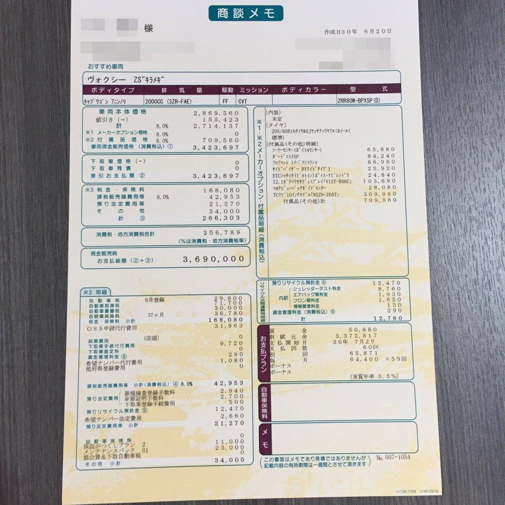 ボクシー新車見積書(商談メモ)