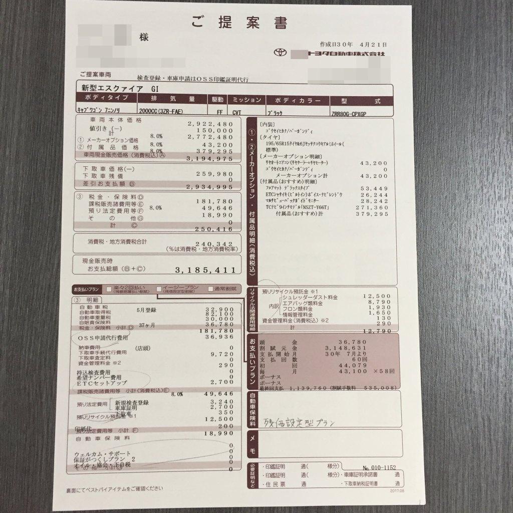 エスクァイア新車見積書(商談メモ)