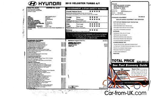 2015 Hyundai Veloster 3 door hatchback