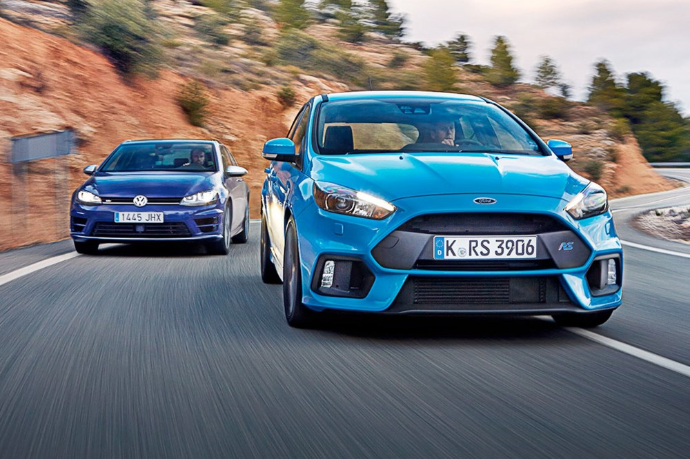 medium resolution of vw golf r vs ford focus rs 2016 s hot hatch crunch match
