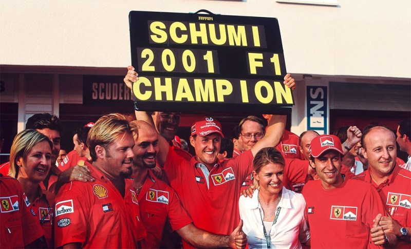 He might look arrogant, but this was his fourth title and second for Ferrari. And the team loved him, they really did