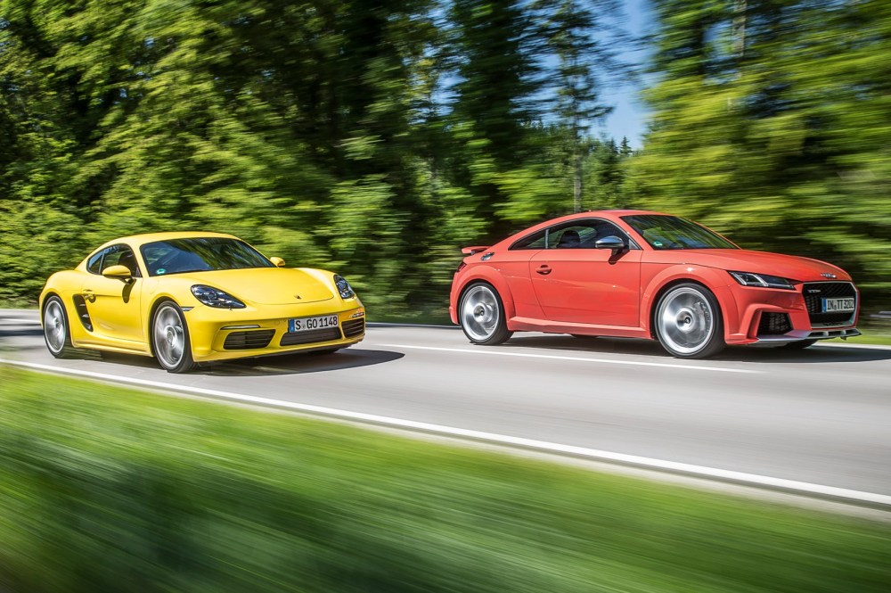 medium resolution of audi tt rs vs porsche 718 cayman s