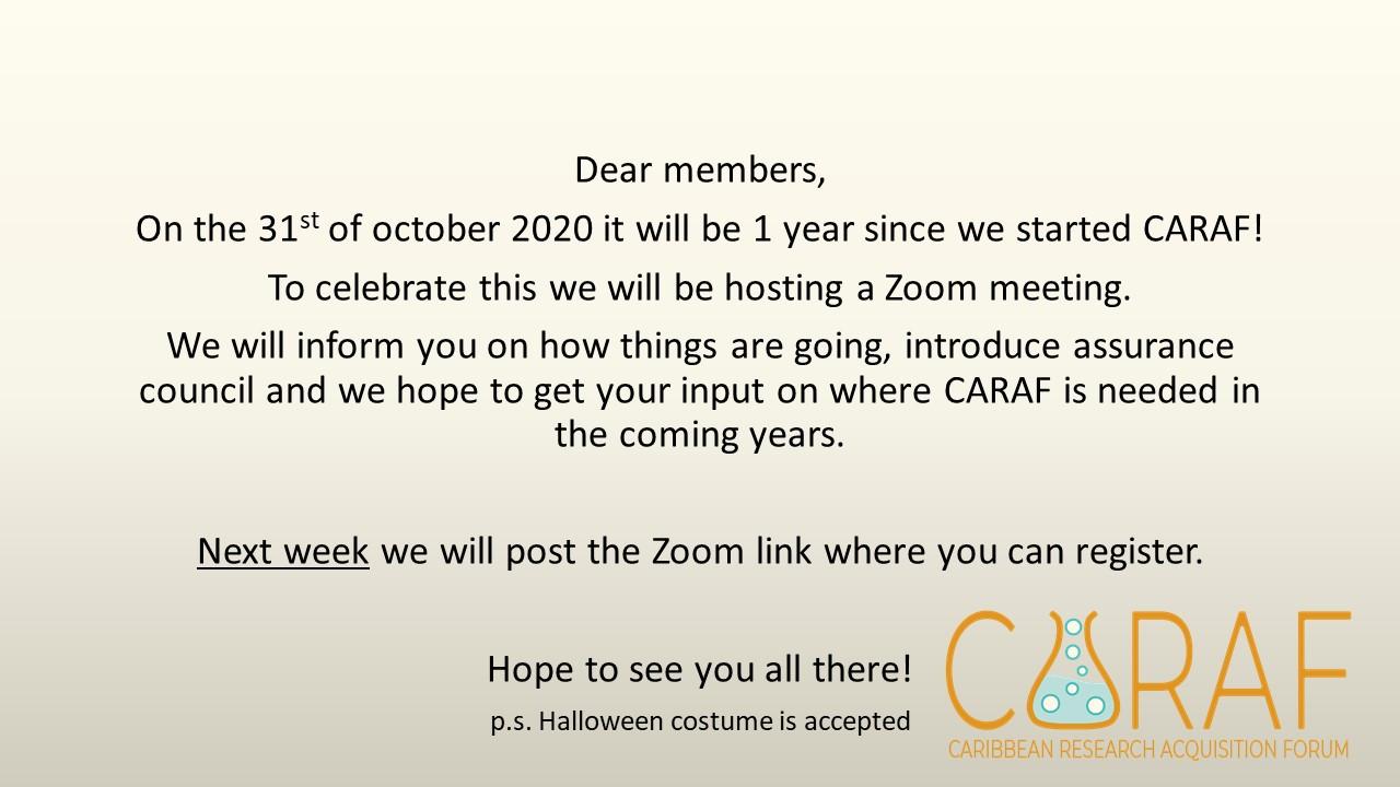 CARAF 1 year celebration