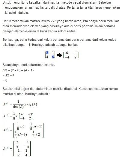 Contoh Soal Invers Matriks Ordo 2x2 : contoh, invers, matriks, Contoh, Rumus, Matriks, Invers, Lengkap