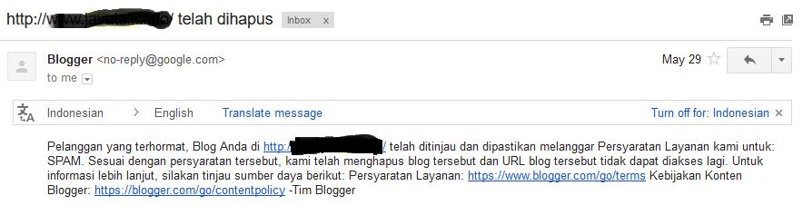 Contoh Email dari Blogger tentang Penghapusan Blog