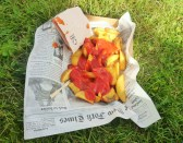 My sole option for lunch. Artfully dressed in mock newspaper.