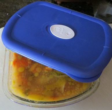 Store stock & soup in fridge. Easy to remove fat when cool