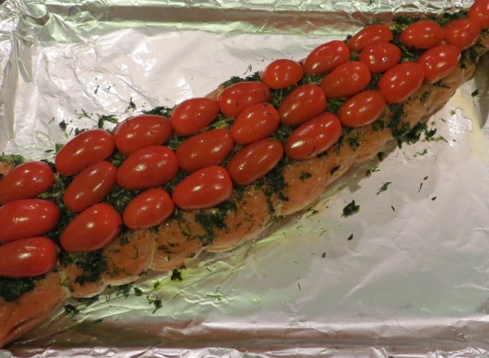 Salmon with Cherry tomato topping