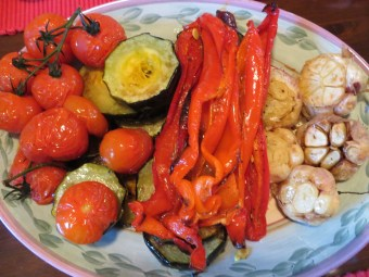 Roast peppers, garlic etc