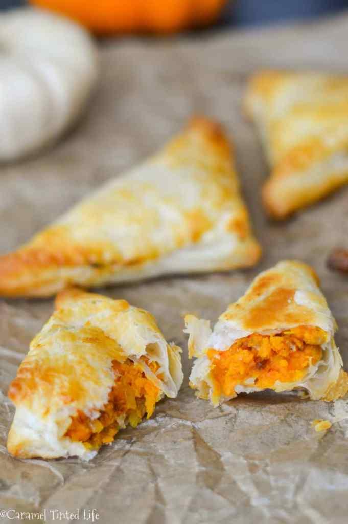 Sweet potato and pea puff pastry samosas