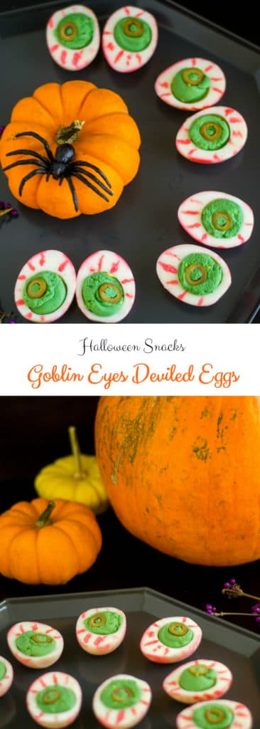 Halloween Deviled Eggs on a tray