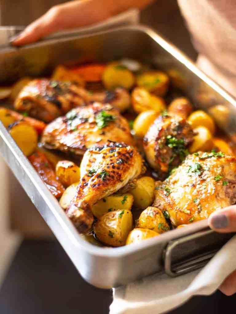 sheet pan honey garlic chicken