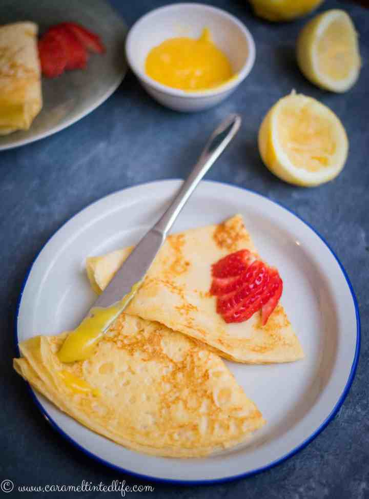French crepes with lemon curd