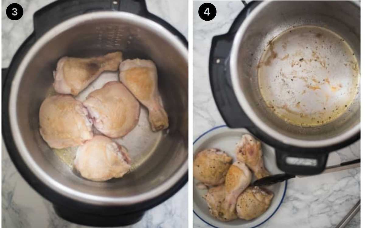 Steps for cooking chicken and rice in an Instant Pot